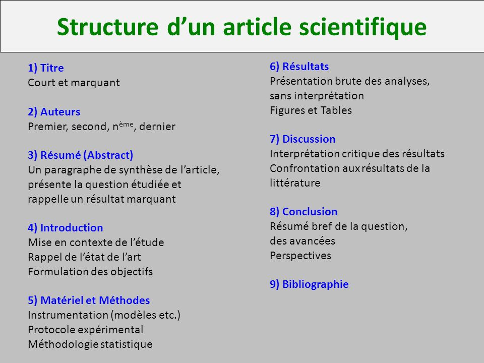 Structure d'un article scientifique