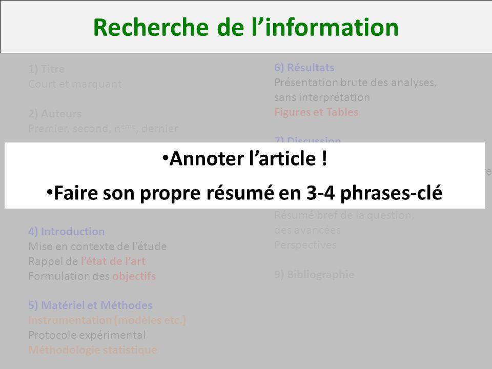 Recherche de l'information Faire son propre résumé en 3-4 phrases-clé