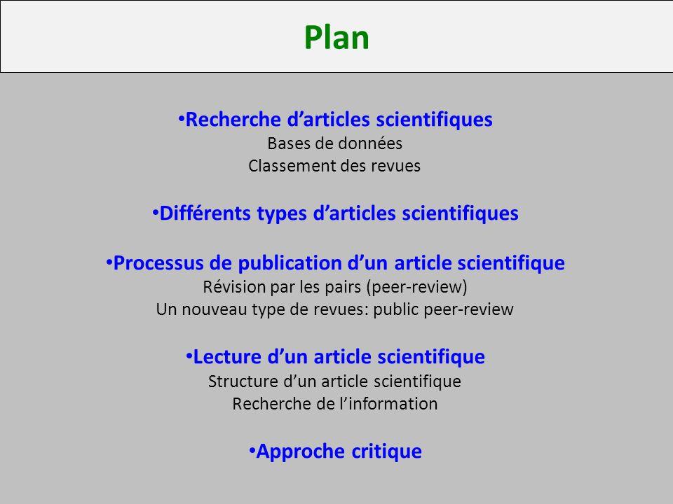 Plan Recherche d'articles scientifiques