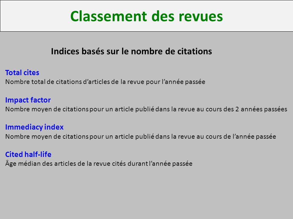 Classement des revues Indices basés sur le nombre de citations