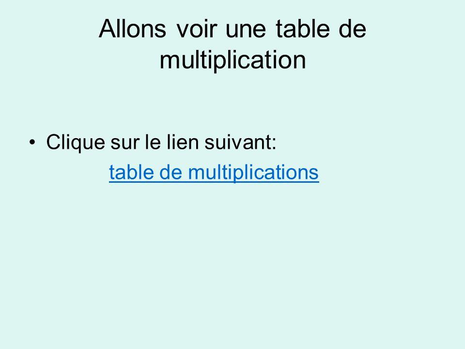 Allons voir une table de multiplication