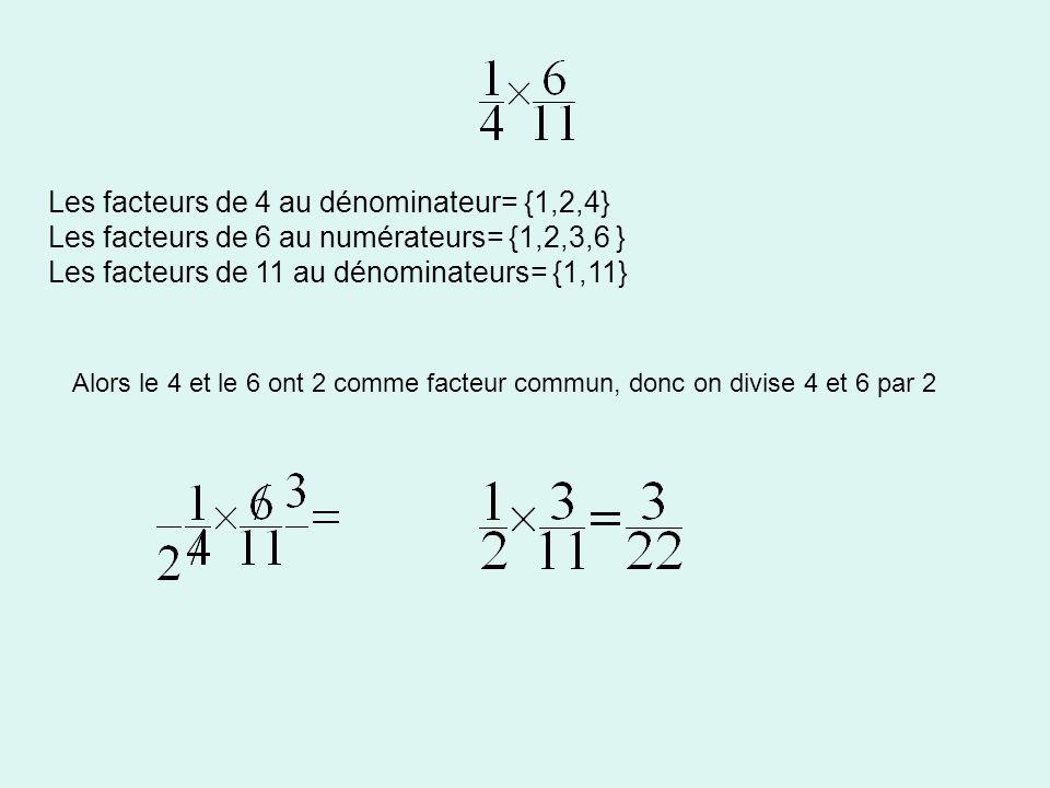 Les facteurs de 4 au dénominateur= {1,2,4}