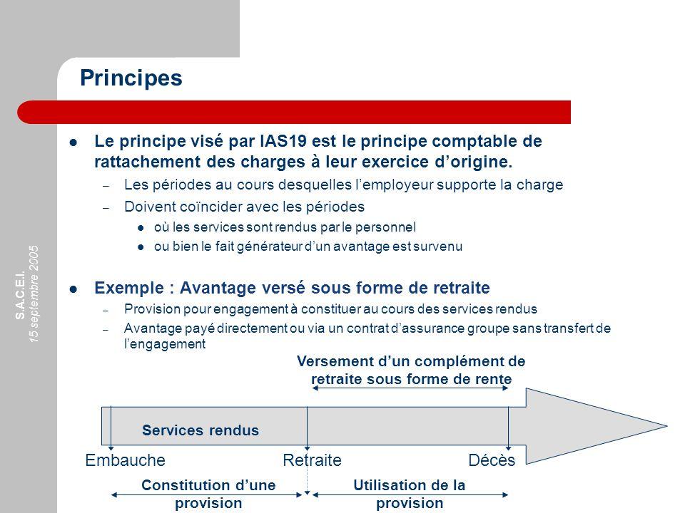 Principes Le principe visé par IAS19 est le principe comptable de rattachement des charges à leur exercice d'origine.
