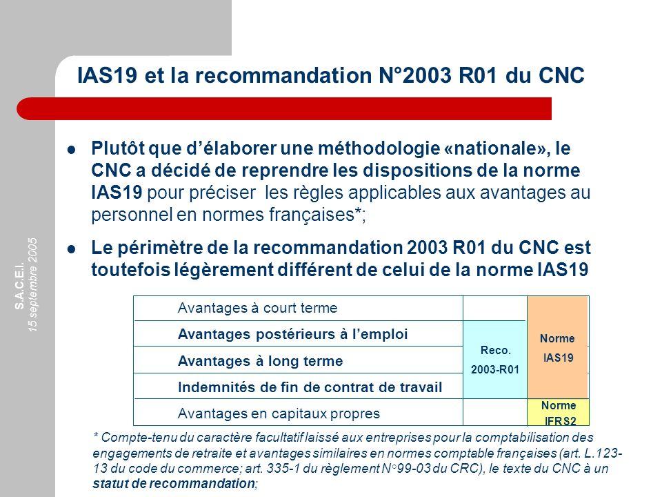 IAS19 et la recommandation N°2003 R01 du CNC