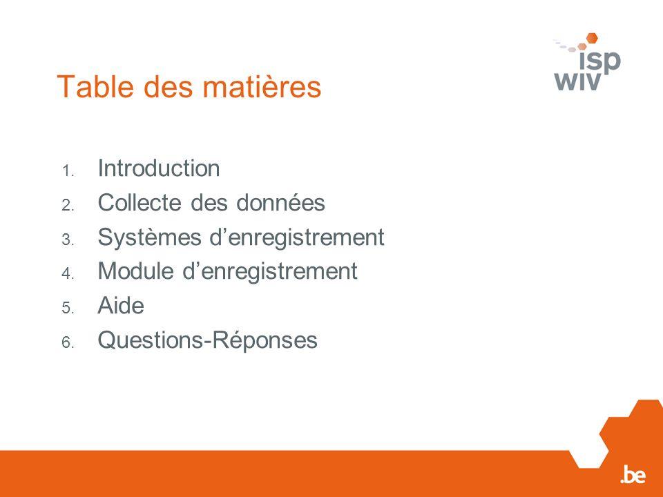 Table des matières Introduction Collecte des données