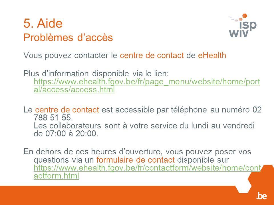 5. Aide Problèmes d'accès