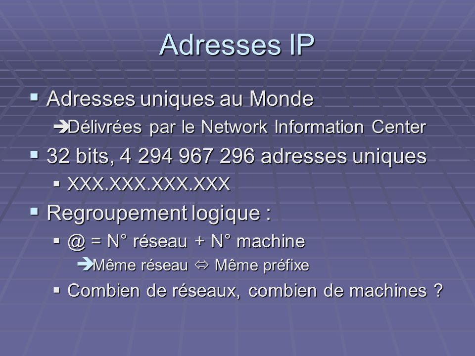 Adresses IP Adresses uniques au Monde