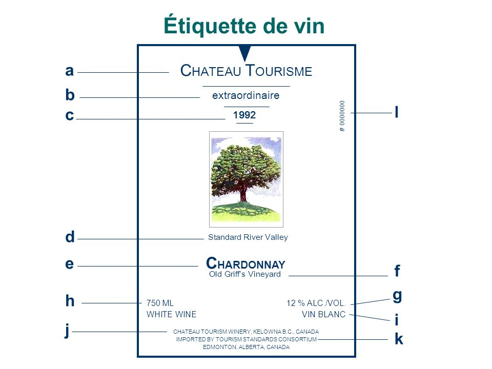 Étiquette de vin CHATEAU TOURISME CHARDONNAY a b c d e f g h i j k l