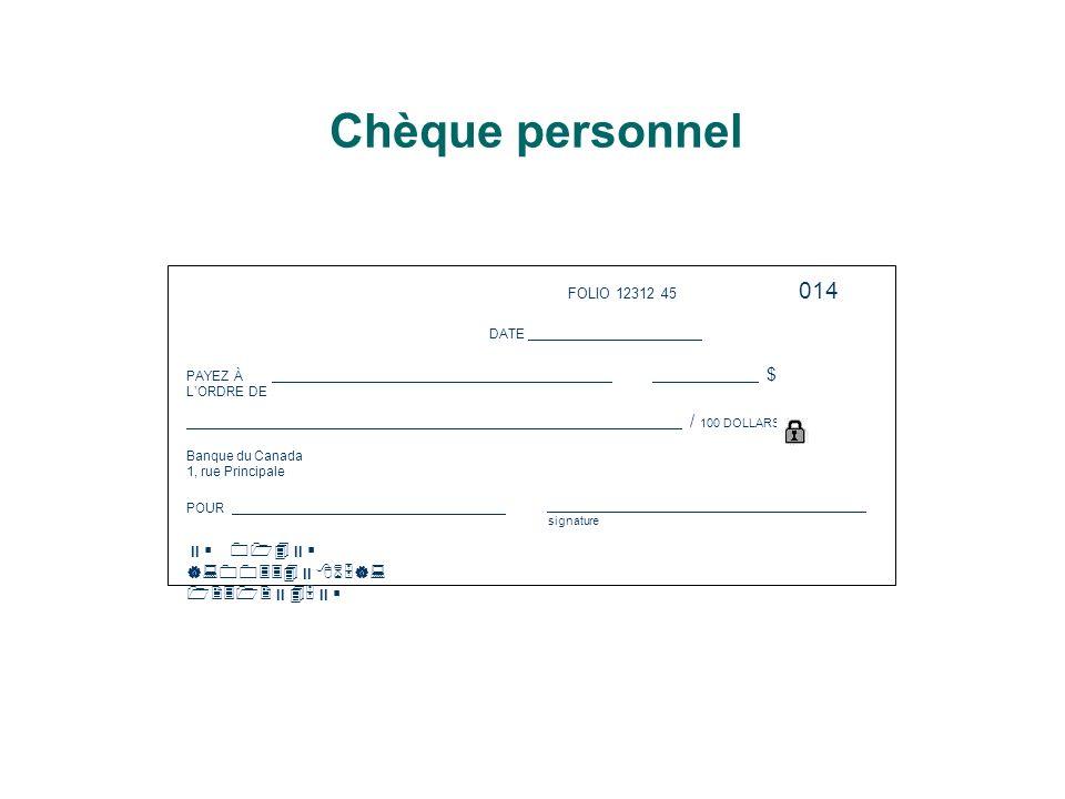 Chèque personnel 014  014 |:00334865|: 1231245 FOLIO 12312 45