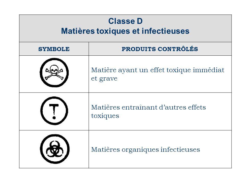Matières toxiques et infectieuses