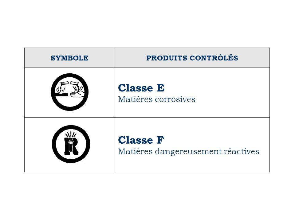 Classe E Classe F Matières corrosives