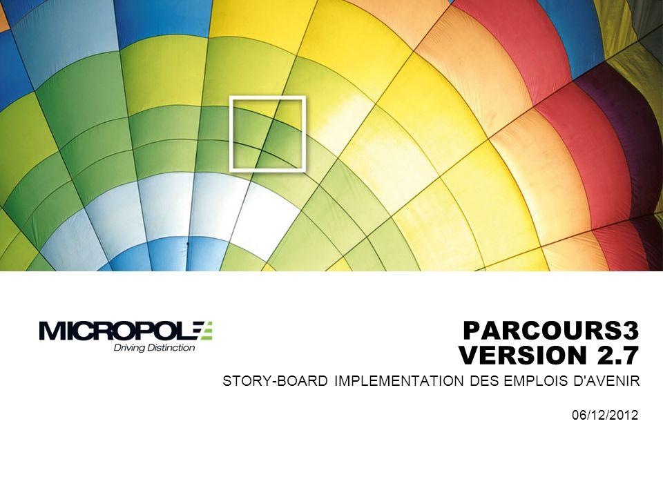 PARCOURS3 Version 2.7 Story-Board IMPLEMENTATION DES emplois d avenir