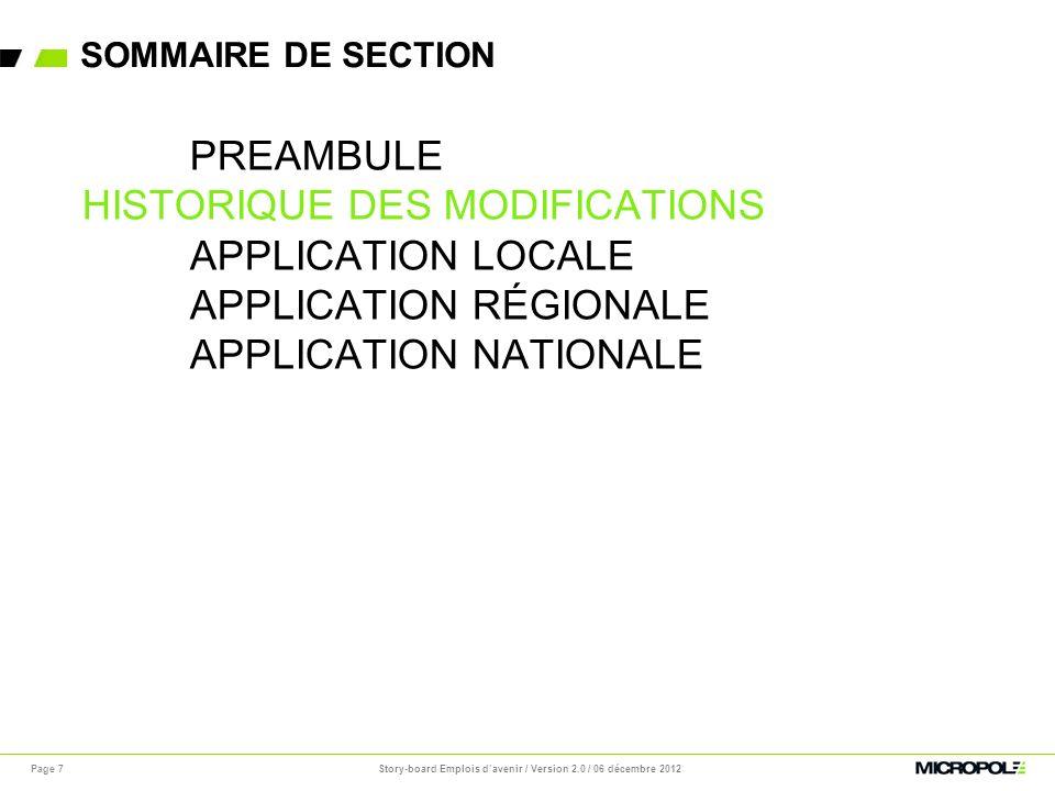 Story-board Emplois d'avenir / Version 2.0 / 06 décembre 2012