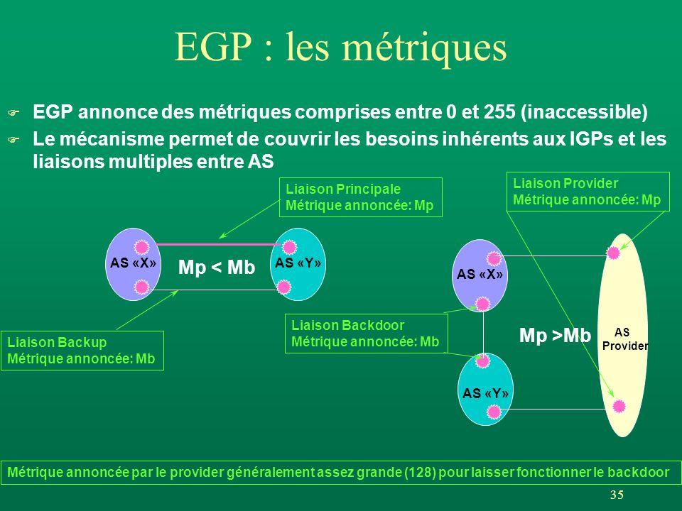 EGP : les métriques EGP annonce des métriques comprises entre 0 et 255 (inaccessible)