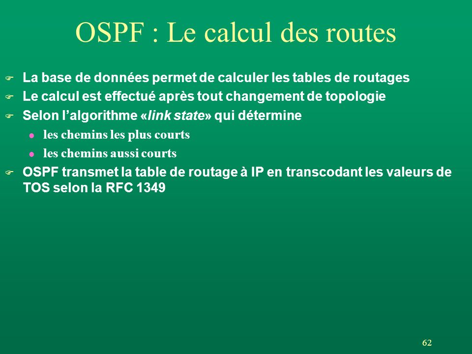 OSPF : Le calcul des routes