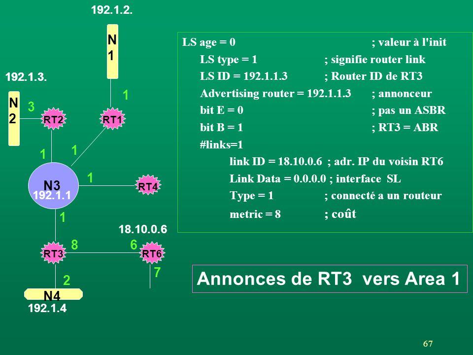 Annonces de RT3 vers Area 1