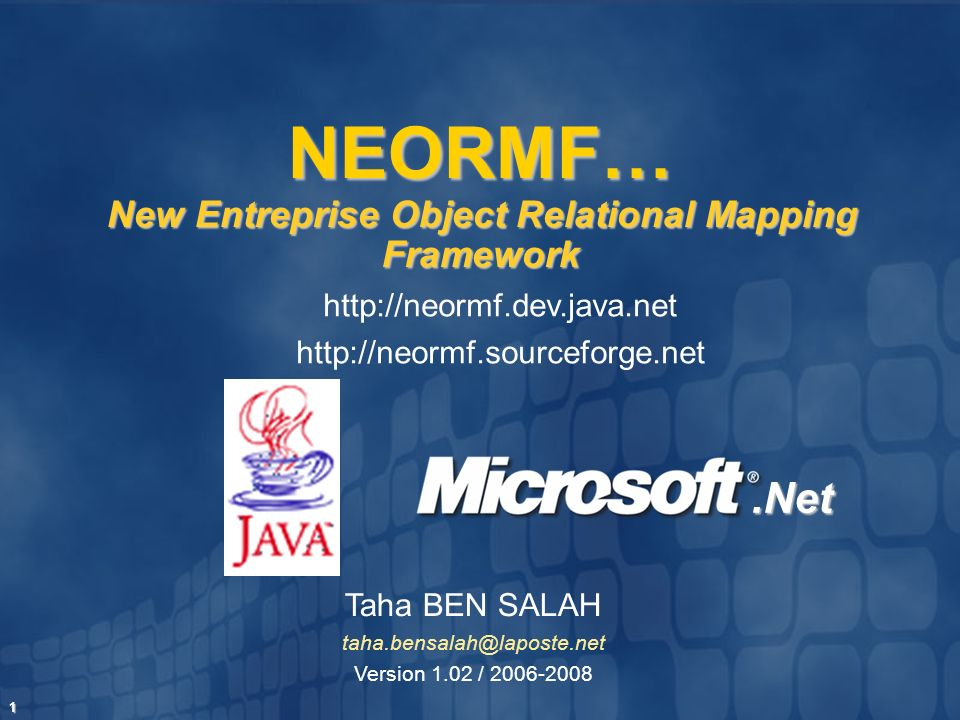 NEORMF… New Entreprise Object Relational Mapping Framework