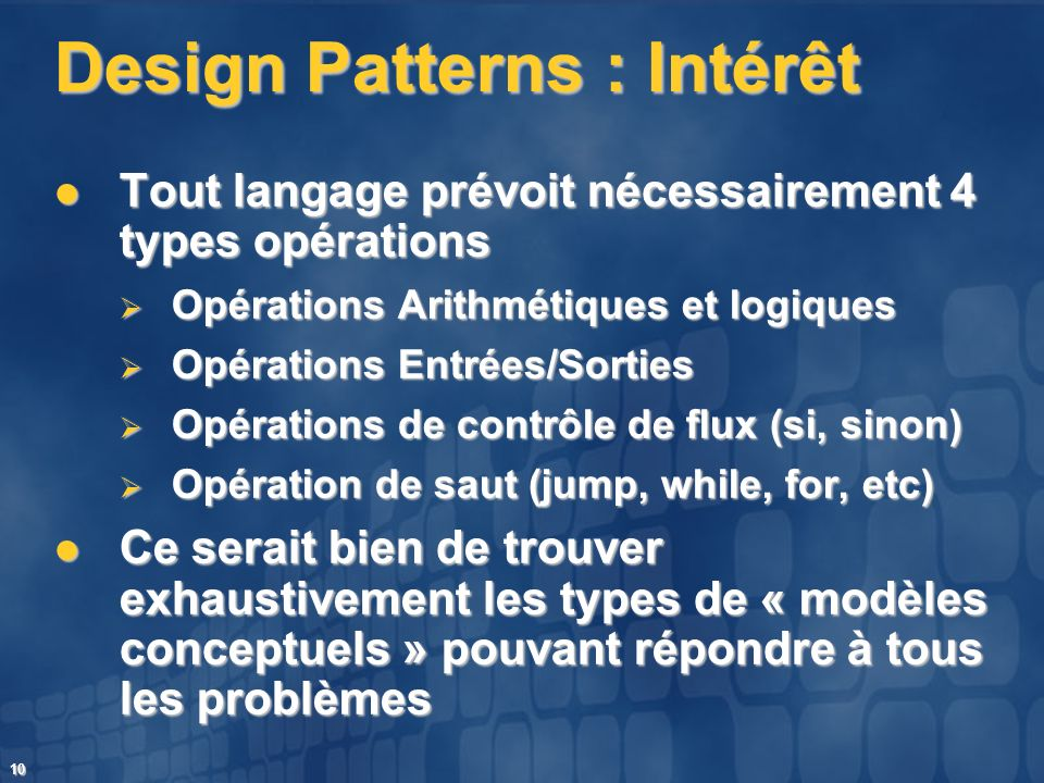 Design Patterns : Intérêt