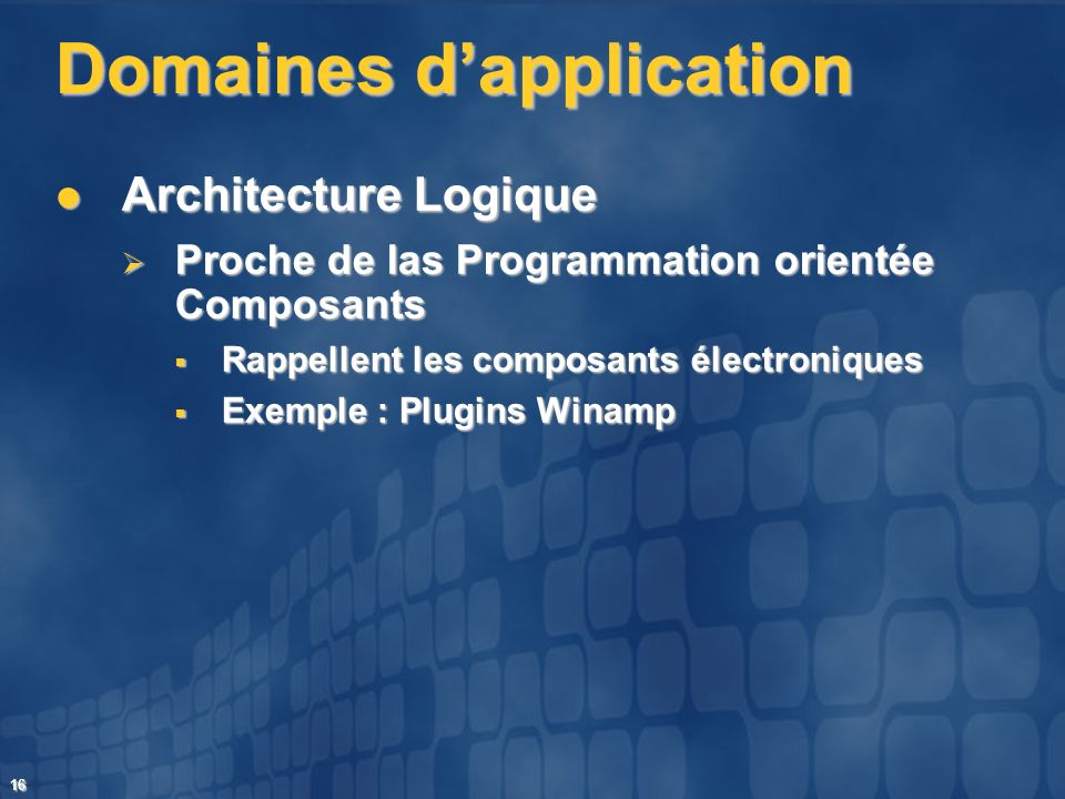 Domaines d'application
