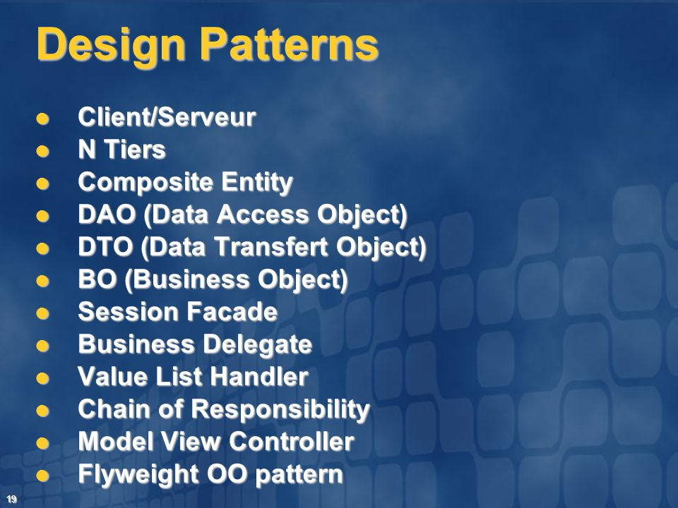 Design Patterns Client/Serveur N Tiers Composite Entity