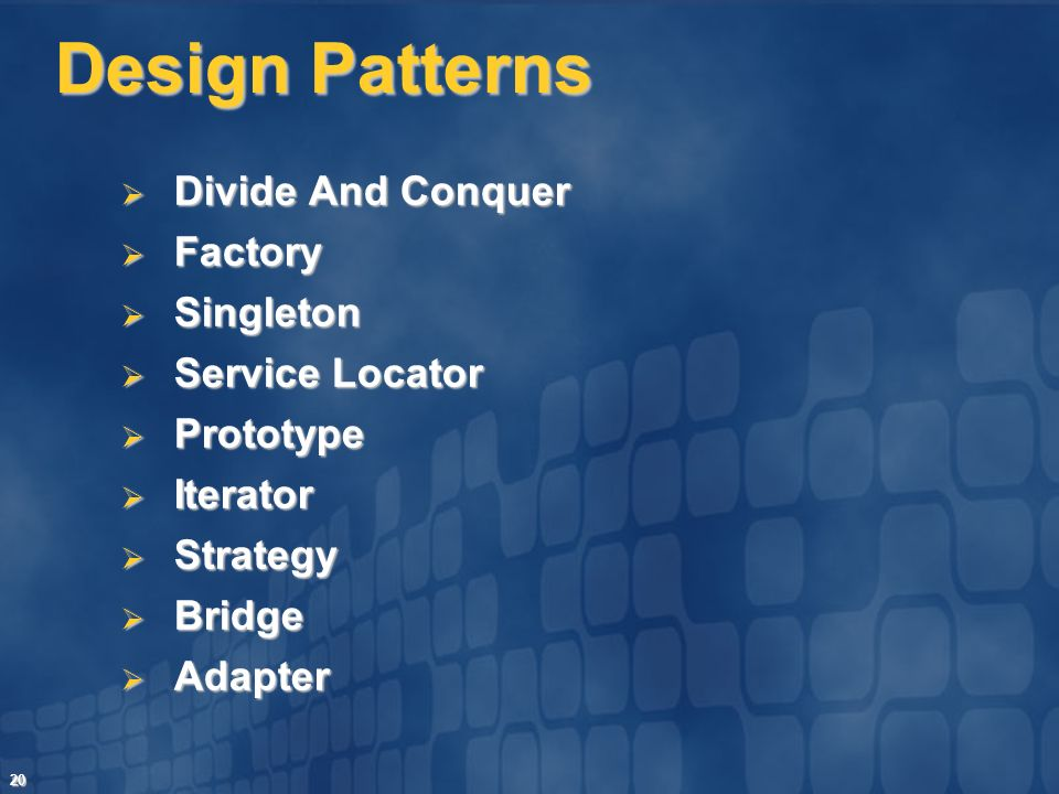 Design Patterns Divide And Conquer Factory Singleton Service Locator