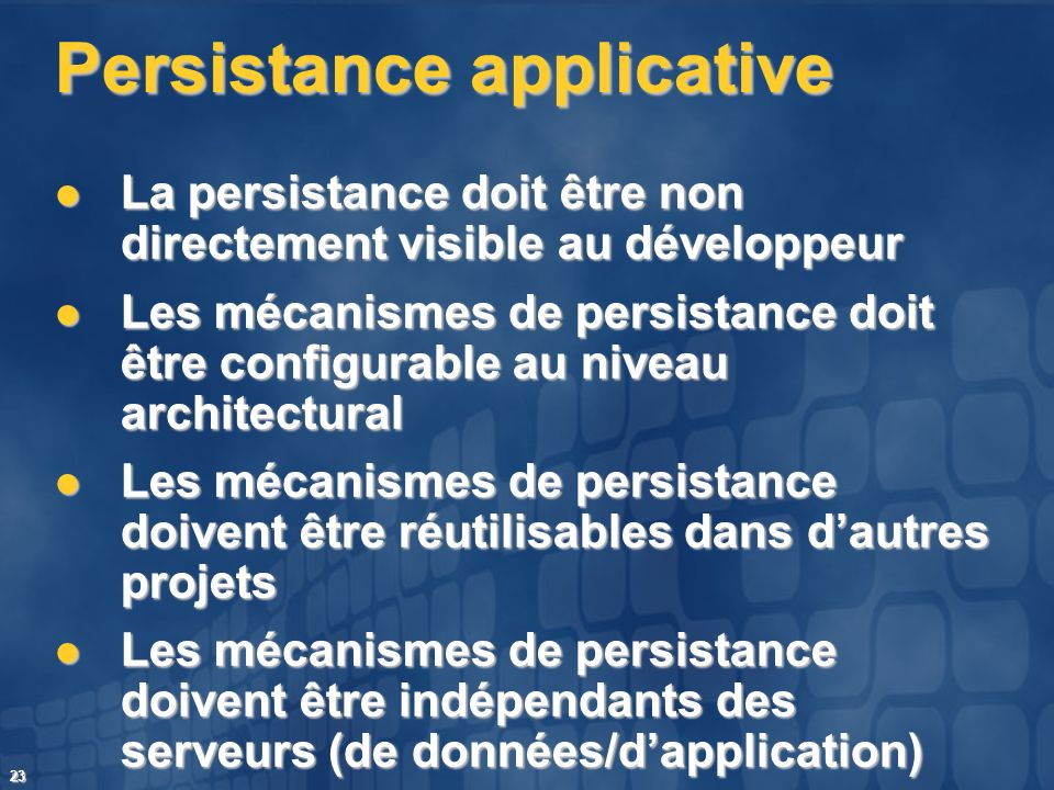 Persistance applicative
