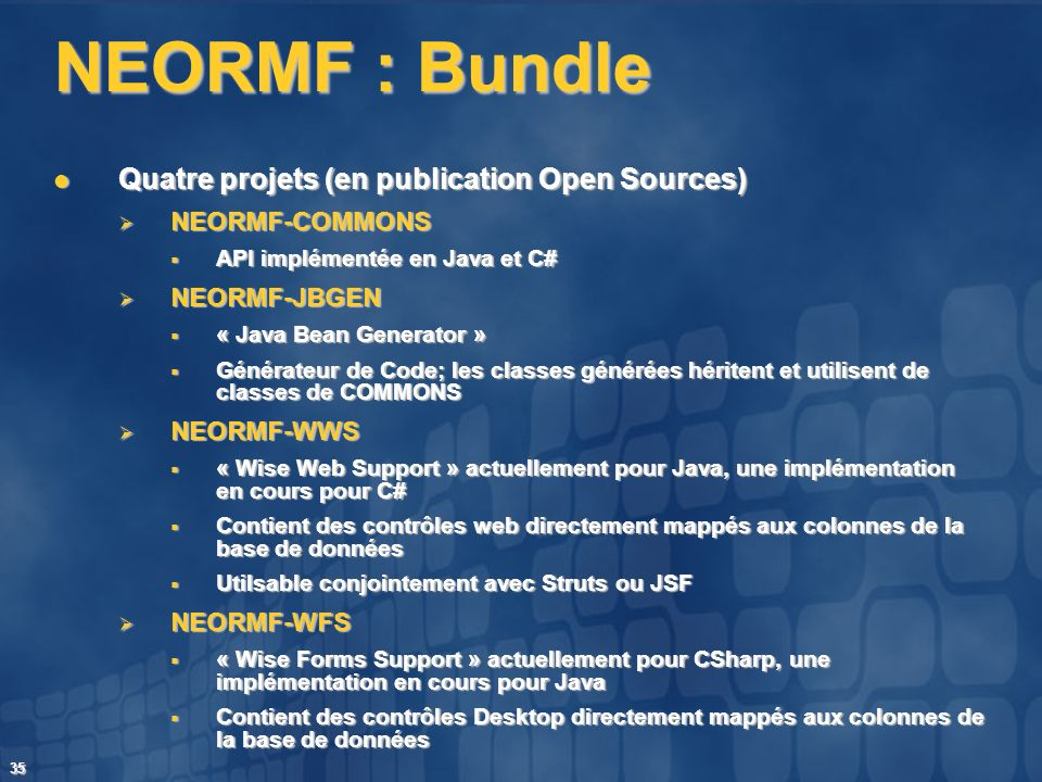 NEORMF : Bundle Quatre projets (en publication Open Sources)