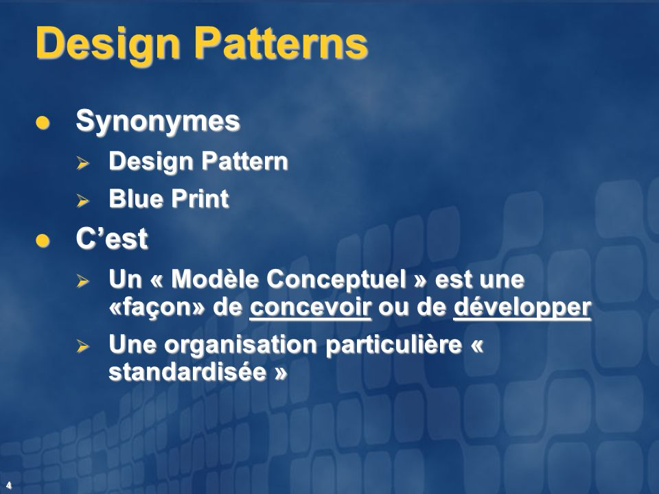 Design Patterns Synonymes C'est Design Pattern Blue Print