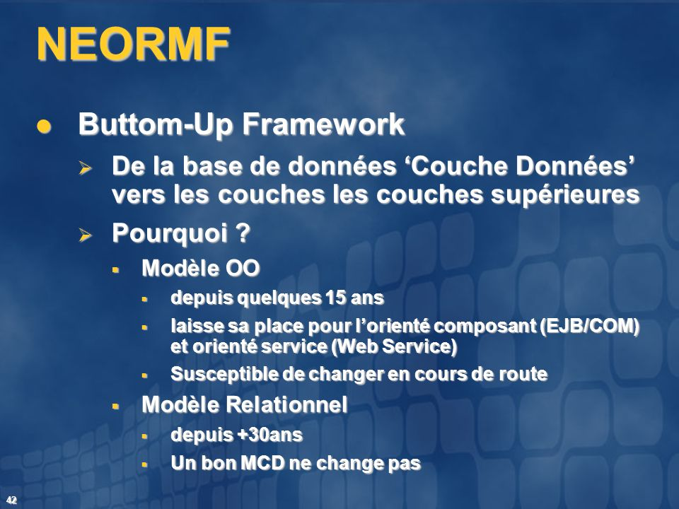NEORMF Buttom-Up Framework