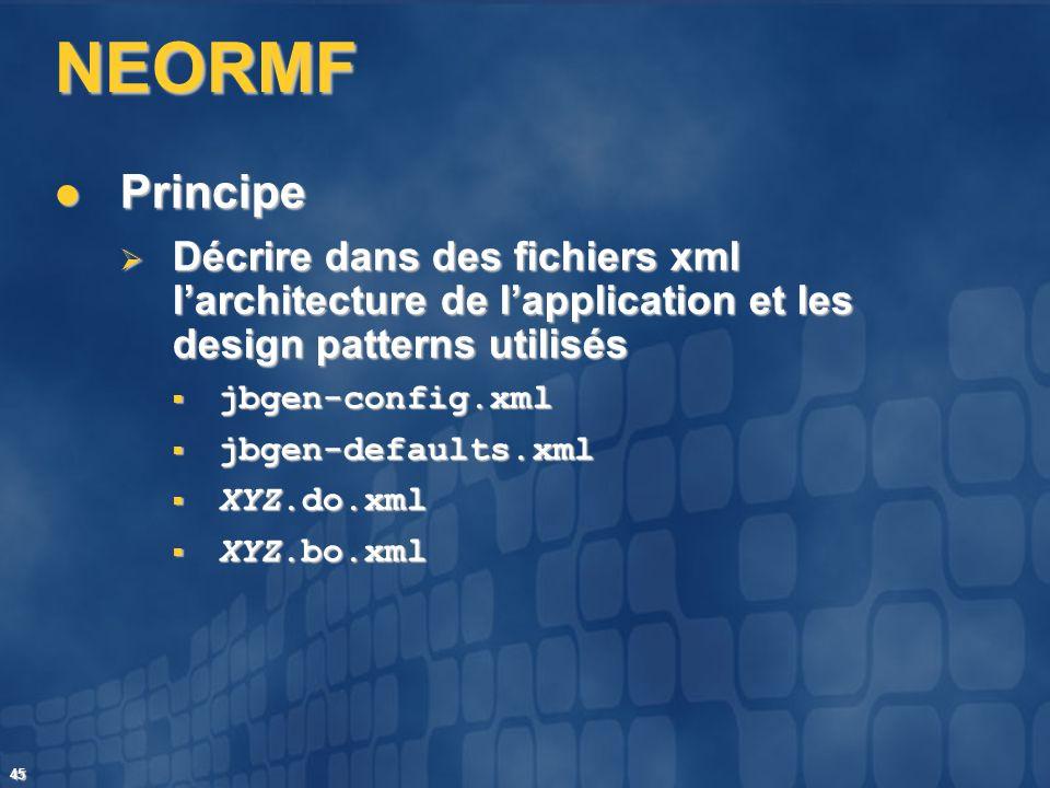 NEORMF Principe. Décrire dans des fichiers xml l'architecture de l'application et les design patterns utilisés.