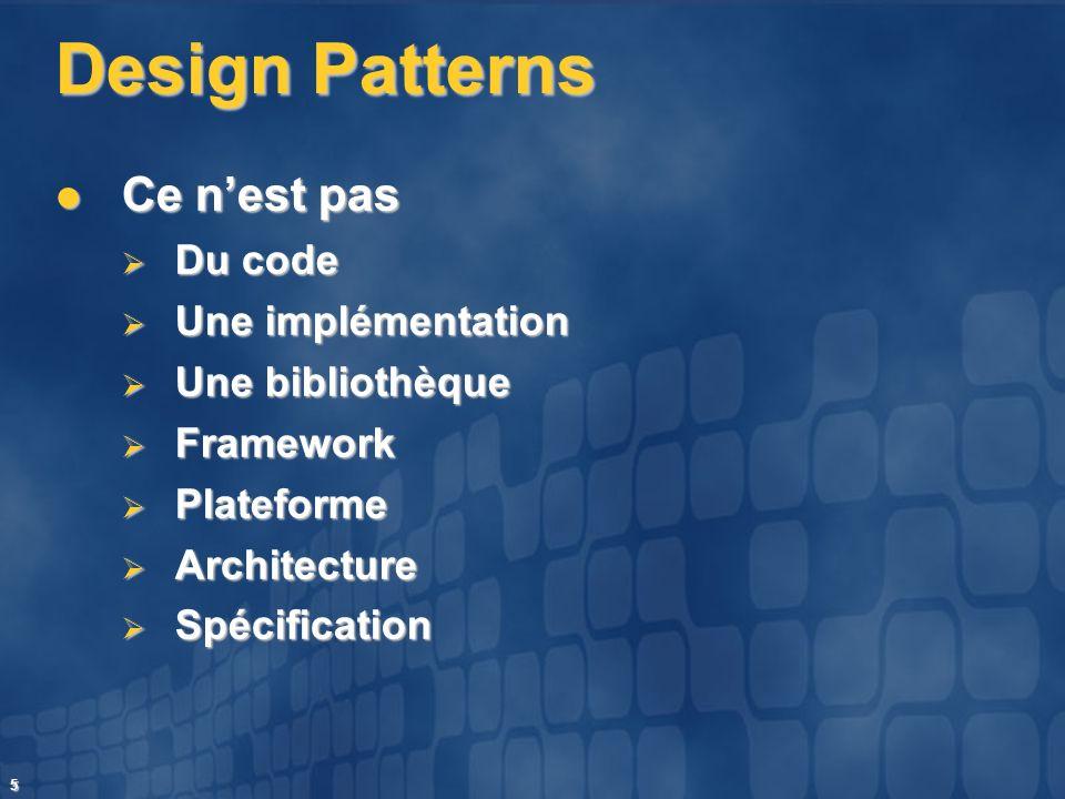 Design Patterns Ce n'est pas Du code Une implémentation