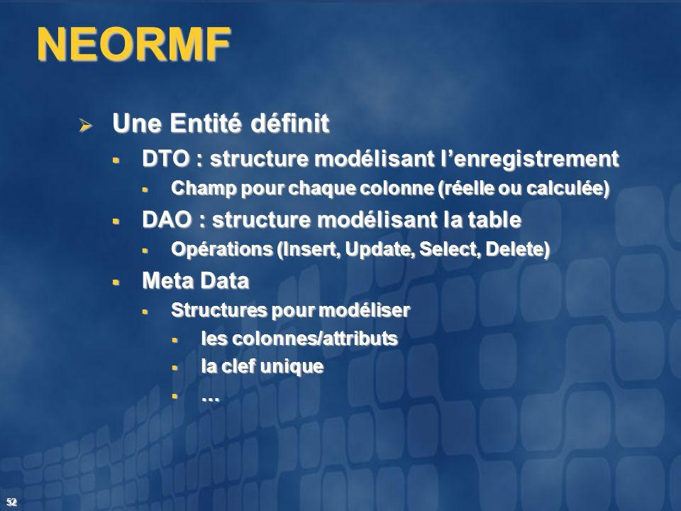 NEORMF Une Entité définit DTO : structure modélisant l'enregistrement