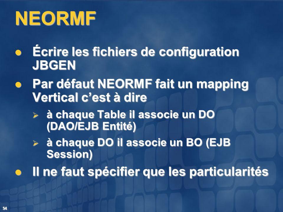 NEORMF Écrire les fichiers de configuration JBGEN