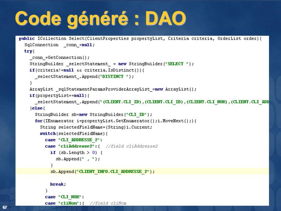 Code généré : DAO