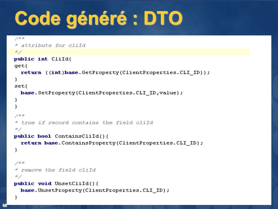 Code généré : DTO