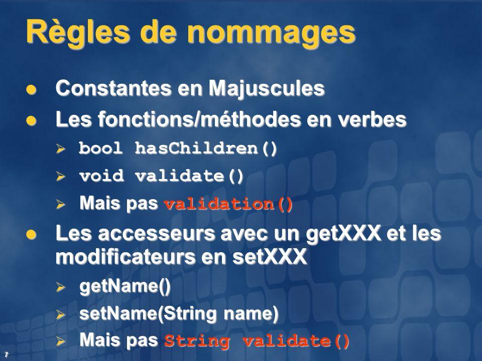 Règles de nommages Constantes en Majuscules
