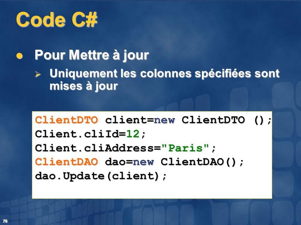 Code C# Pour Mettre à jour