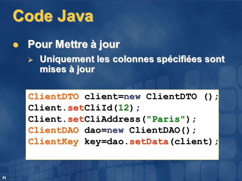 Code Java Pour Mettre à jour