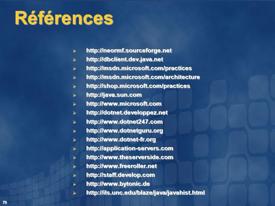 Références http://neormf.sourceforge.net http://dbclient.dev.java.net