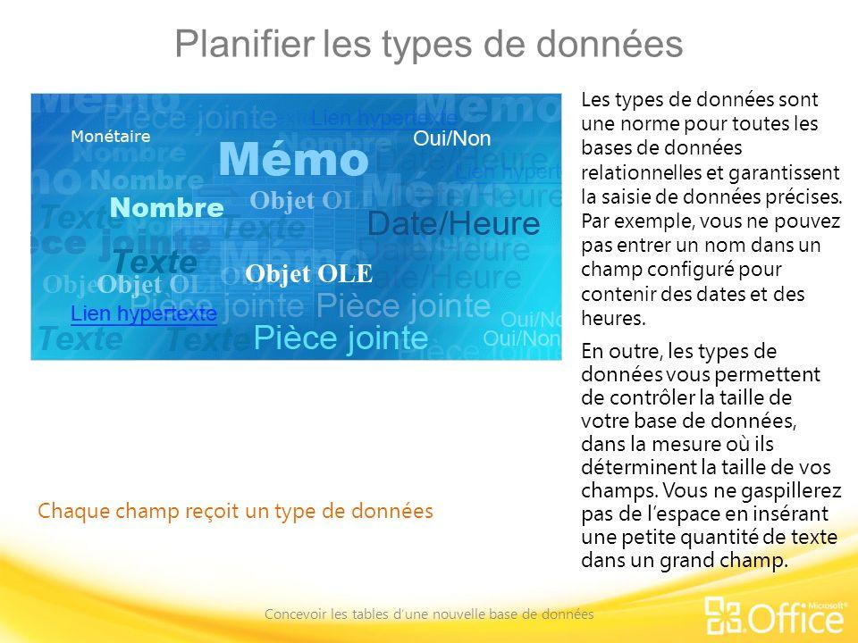 Planifier les types de données