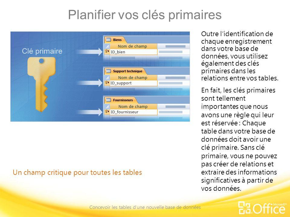 Planifier vos clés primaires