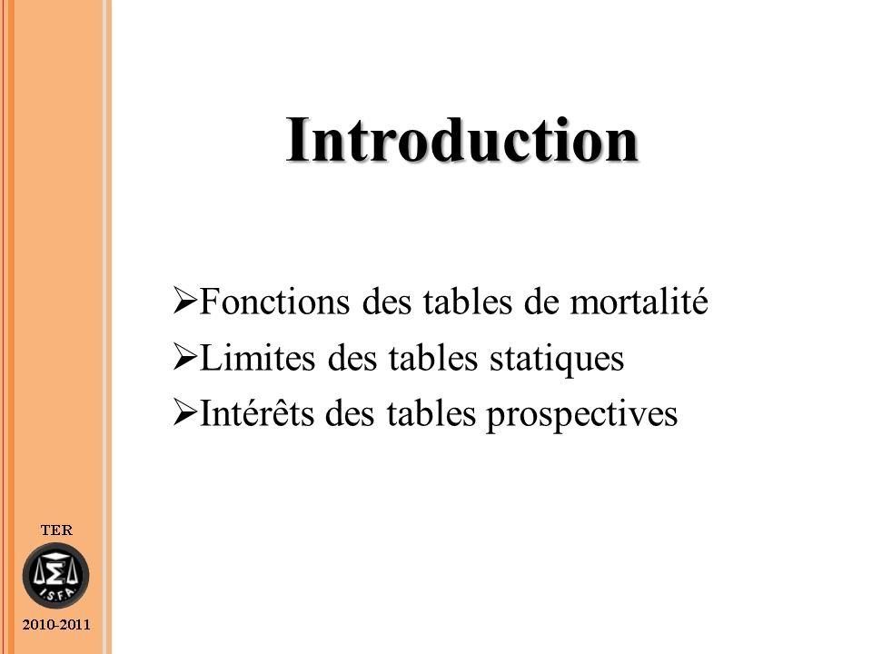 Introduction Fonctions des tables de mortalité