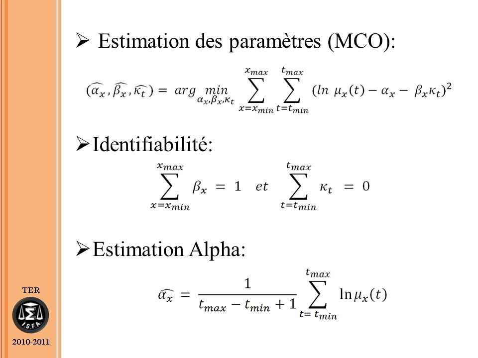 Estimation des paramètres (MCO):