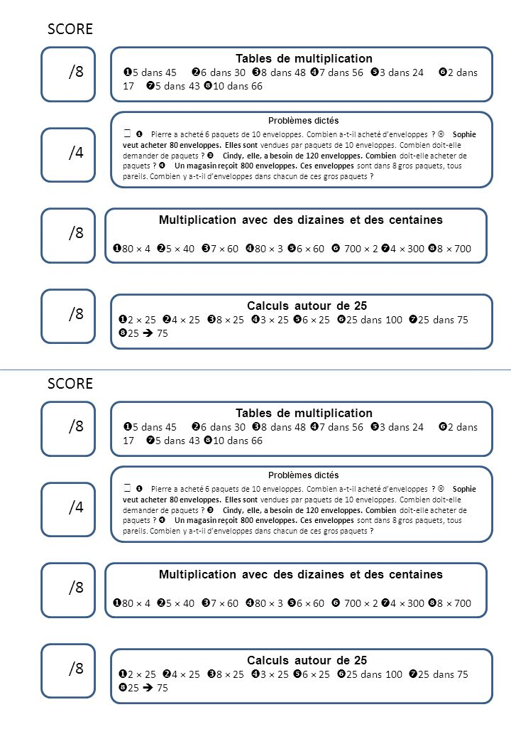 SCORE /8 /4 /8 /8 SCORE /8 /4 /8 /8 Tables de multiplication