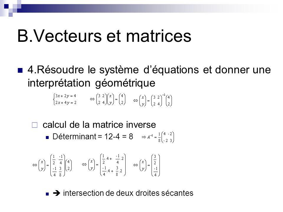 B.Vecteurs et matrices 4.Résoudre le système d'équations et donner une interprétation géométrique. calcul de la matrice inverse.