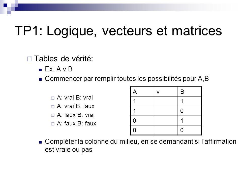 TP1: Logique, vecteurs et matrices