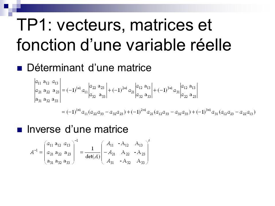 TP1: vecteurs, matrices et fonction d'une variable réelle