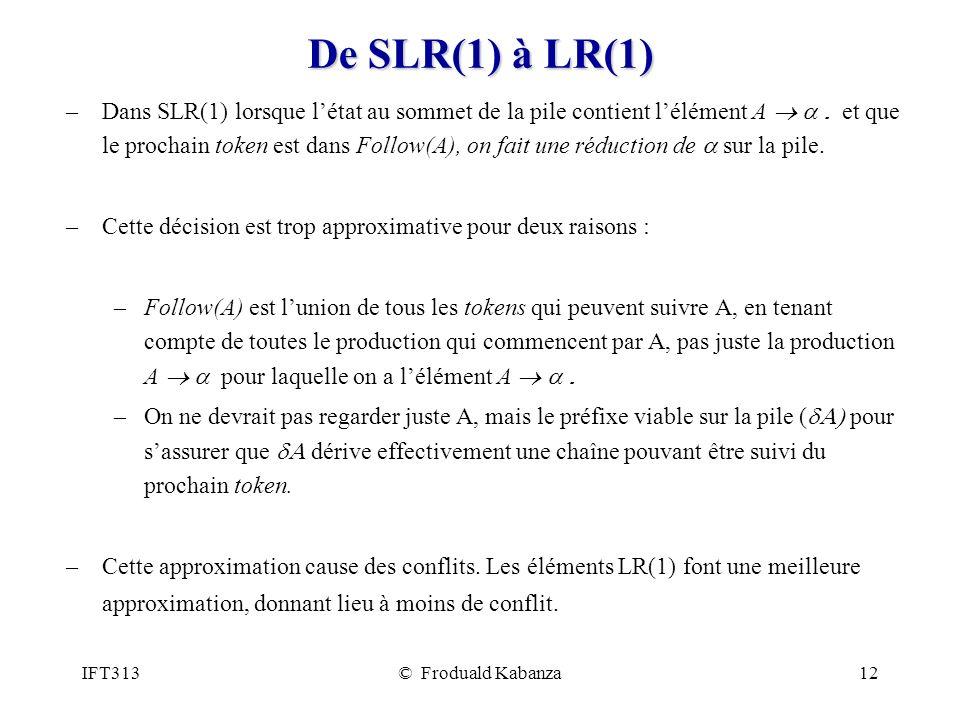 De SLR(1) à LR(1)