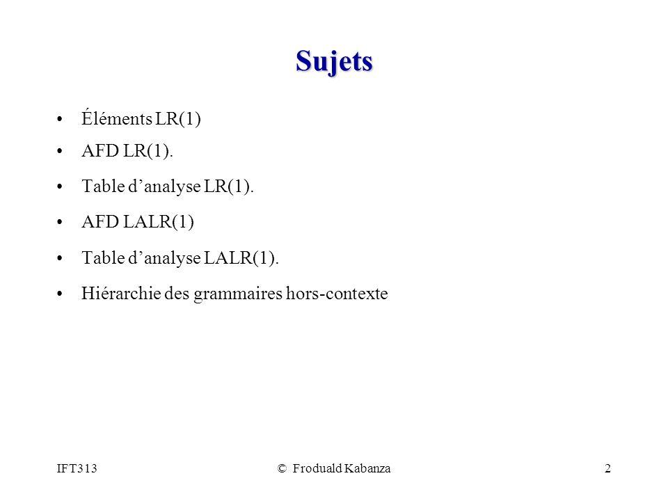 Sujets Éléments LR(1) AFD LR(1). Table d'analyse LR(1). AFD LALR(1)