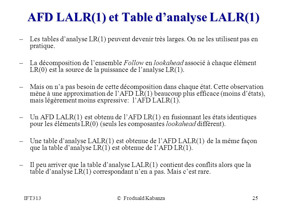 AFD LALR(1) et Table d'analyse LALR(1)